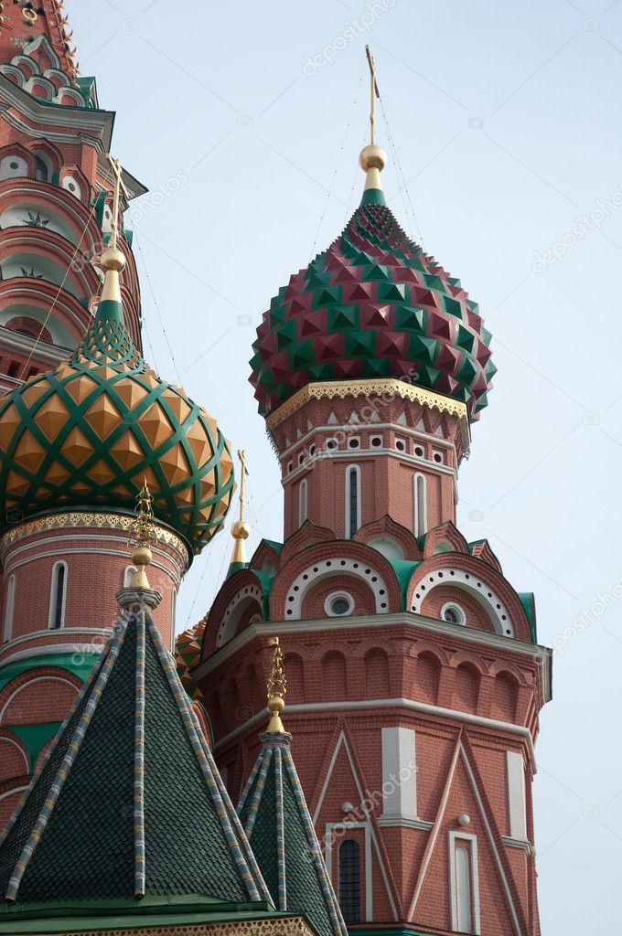Famous St. Basil's Cathedral at Red Square in Moscow, Russia.  Stock Photo #4413793