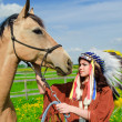 The girl with a horse — Stock Photo