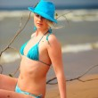 The blonde in a blue hat — Stock Photo #4455547