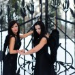 Two girls in black dresses against a snow-covered landscape — Stock Photo #4455584