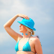 The blonde in a blue hat — Stock Photo #4459218
