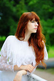 Girl in white dress — Stock Photo