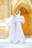 Two white angels — Stock Photo