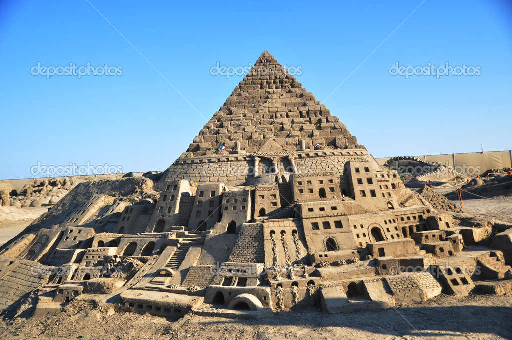 Tower of Babel out of the sand  Stock Photo #4458101
