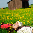 Happy couple lying on a grass — Stock Photo #4570949
