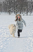 Correndo com cachorro — Fotografia Stock