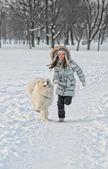 Running with dog — Stock Photo