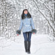 Girl in woodland snow scene — Stock Photo