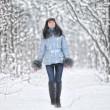 Girl in woodland snow scene — Stock Photo #4602556