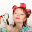 Stock Photo: Housewife with magniglass