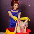 Royalty-Free Stock Photo: Housewife wash clothes