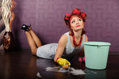 Girl washing floors — Stock Photo