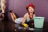 Girl washing floors — Stock Photo