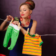 She hung laundry — Stock Photo