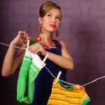 She hung laundry — Stock Photo