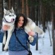 Girl with Husky — Stock Photo #4826832