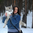 Girl with Husky — Stock Photo #4826872