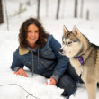 Girl with Husky — Stock Photo