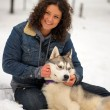 Girl with Husky — Stock Photo #4827044