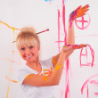 Drawing a girl on the wall — Stock Photo #4885004