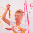 Drawing a girl on the wall — Stock Photo #4885006