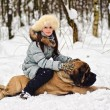 Girl with an English Mastiff — Stockfoto
