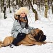 Girl with an English Mastiff — Stock Photo #4909042