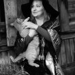 Witch with a red cat — Stock Photo #5009712