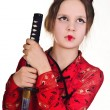Stock Photo: A girl handling a long samurai sword
