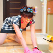 Housewife washing floors — Stock Photo