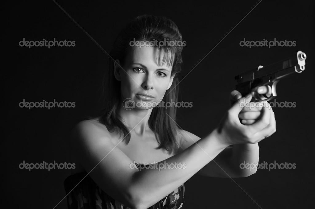 Young military gun woman — Stock Photo #5238568