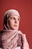 Girl in a headscarf — Stock Photo