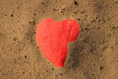 Forma de coração na areia — Fotografia Stock