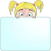 Girl holding a blank sign for your message — Stock Vector