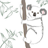 Koala sitting in a tree. Vector Illustration — Stock Vector