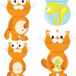 Cartoon set of cat & fish - Stock Vector