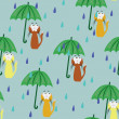 Royalty-Free Stock Vector Image: Cartoon seamless pattern with cat & rain