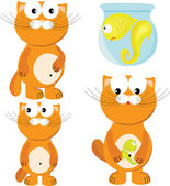 Cartoon set of cat & fish — Stock Vector