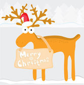 Cartoon illustration with christmas reindeer — Stock Vector