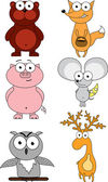 Set of cartoon animals — Stock Vector