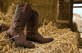 Boots and hay — Stock Photo