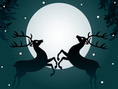 Reindeers at night — Stock Vector