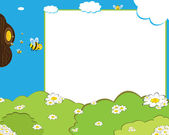 Cartoon bees photo frame — Stock Vector