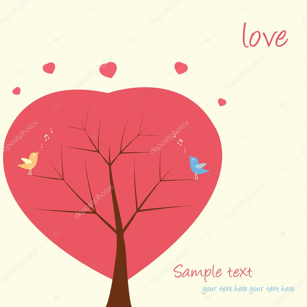 Two love birds sit and singing on a tree of hearts  — Stock Vector #4605309