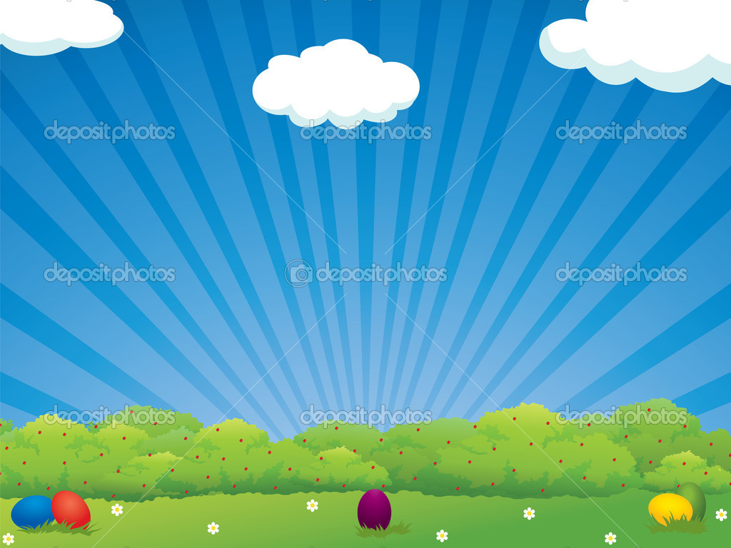 Colorful Easter eggs in the meadow - holiday background  — Stock Vector #4834585