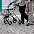 Seniors with wheeled walker - Stock Photo