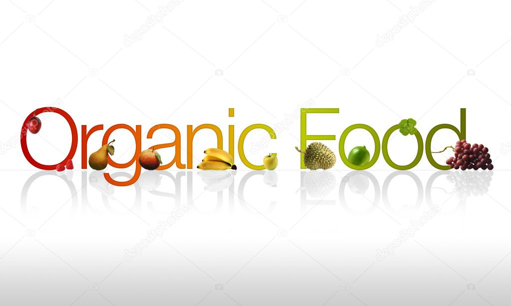 Organic Food graphic with fruits and vegetable ornaments. — Stock Photo #4294551