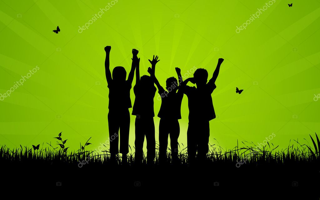 High resolution graphic of happy, jumping kids.  — Stock Photo #4677707