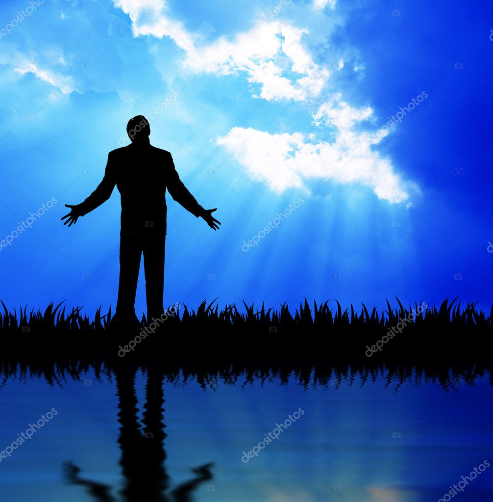 High resolution graphic of a man raising his arms looking up to heaven.  — Stock Photo #4677719