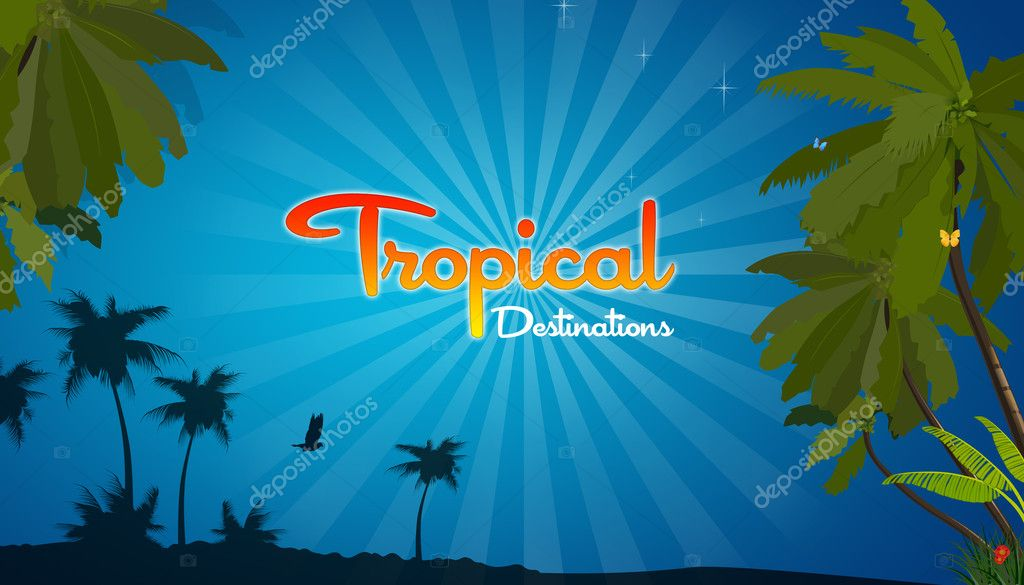 High resolution promotional Tropical Destination graphic with plam trees.  Stock Photo #4683483